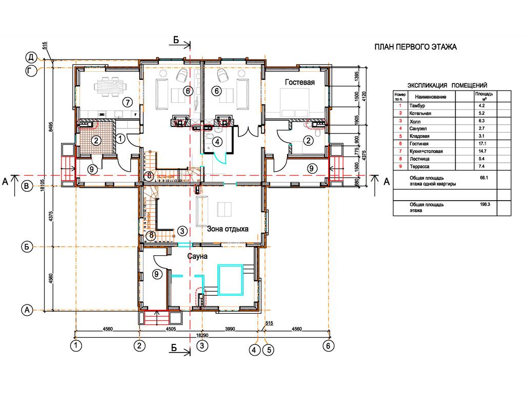 Планировка первого этажа дома на 3 семьи в коттеджном поселке Берег Песочной в Истринском районе Московской области.