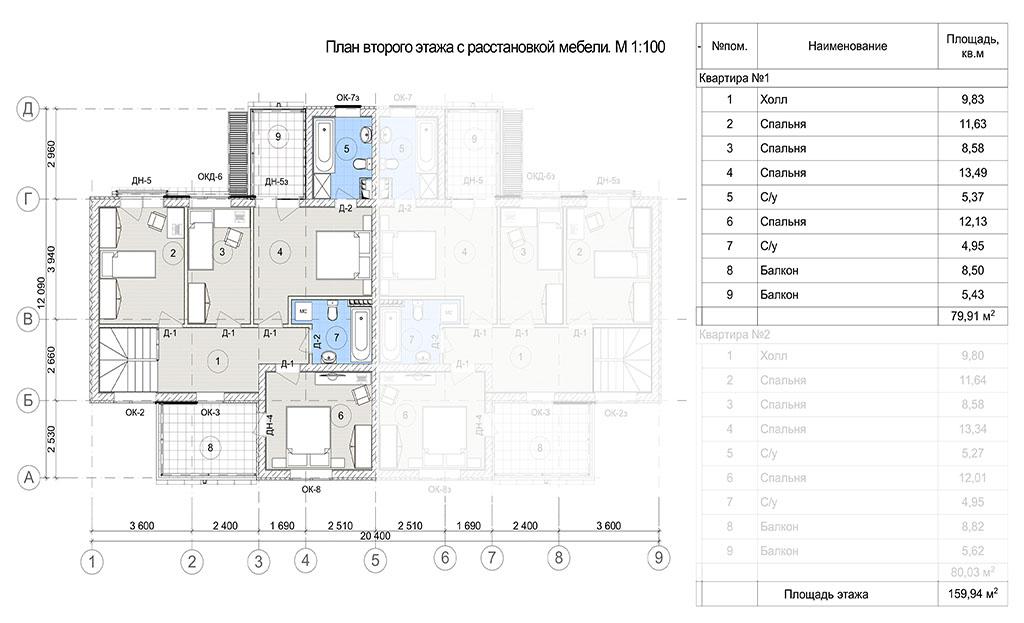 План второго этажа блока в доме на две семьи. Коттеджный поселок Берег Песочной, Истринский район Московской области.
