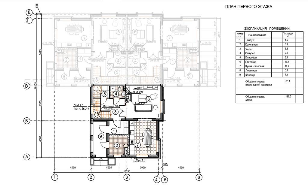 Планировка первого этажа блока в доме на три семьи, триплексе, в коттеджном поселке Берег Песочной в Истринском районе Московской области.