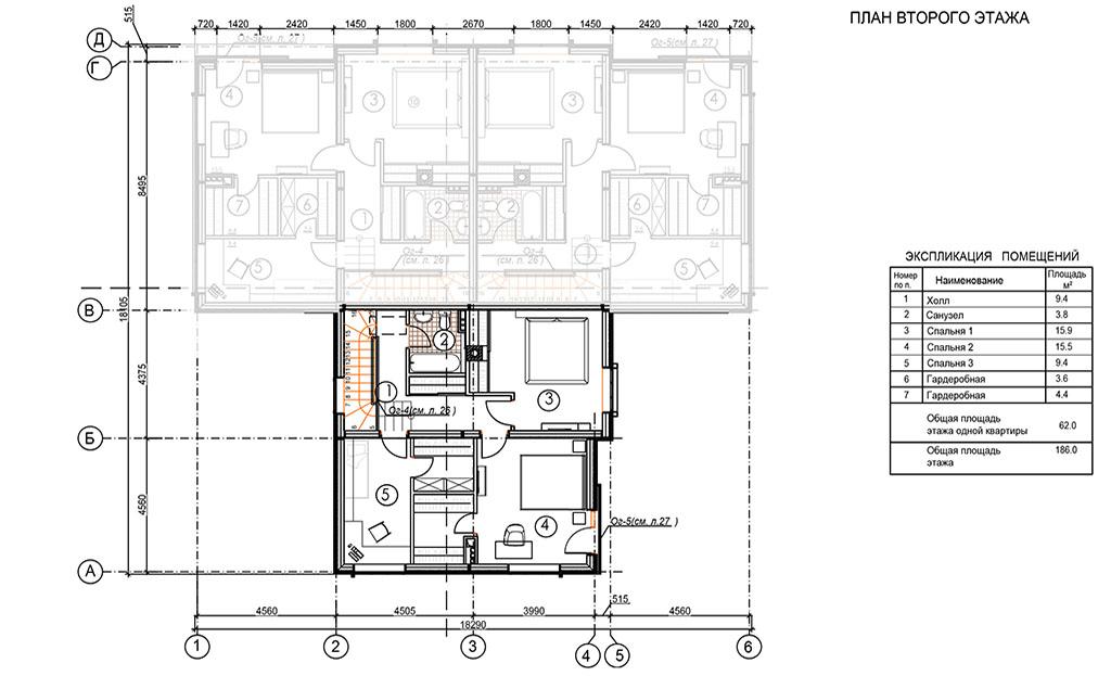 Планировка второго этажа блока в доме на три семьи, триплексе, в коттеджном поселке Берег Песочной в Истринском районе Московской области.