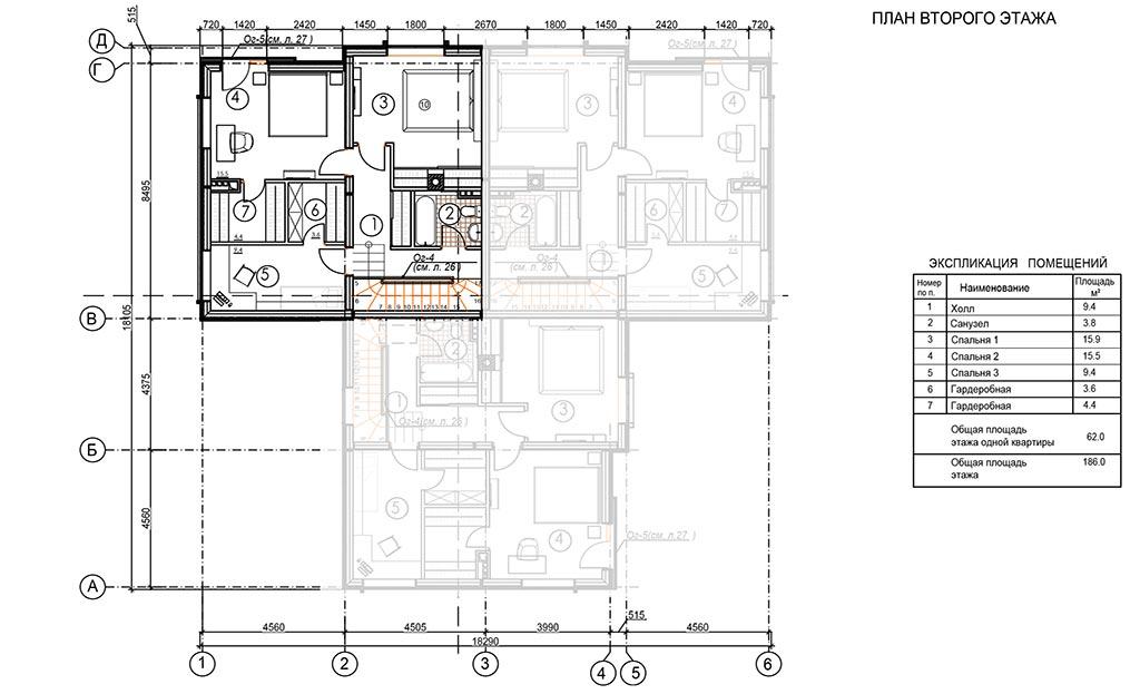 Планировка второго этажа двухэтажной квартиры в доме на три семьи в коттеджном поселке Берег Песочной в Истринском районе Московской области.
