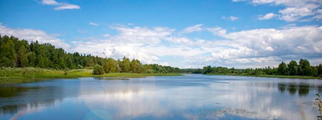 Озеро около коттеджного поселка Берег Песочной в Подмосковье.