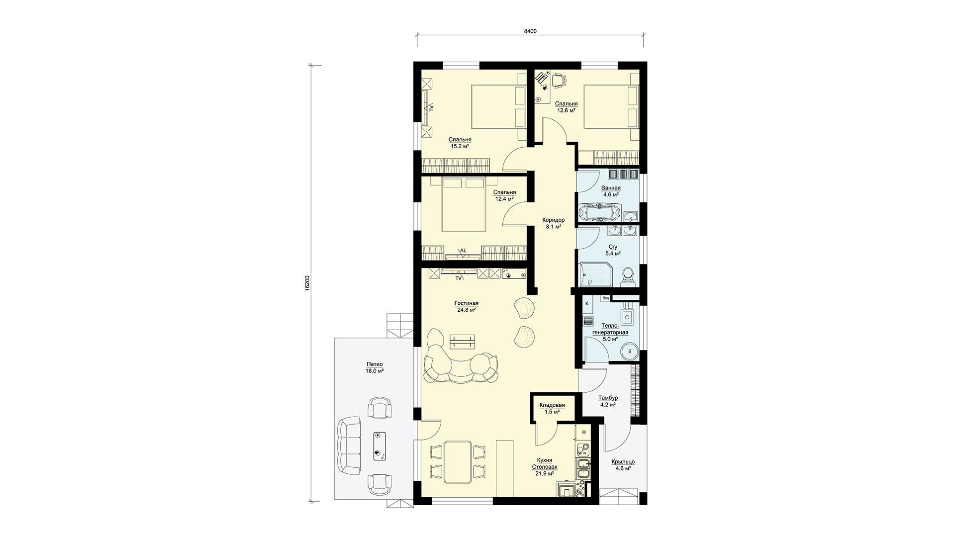 План первого этажа загородного дома БП-138 в коттеджном поселке Берег Песочной в Подмосковье в Истринском районе.