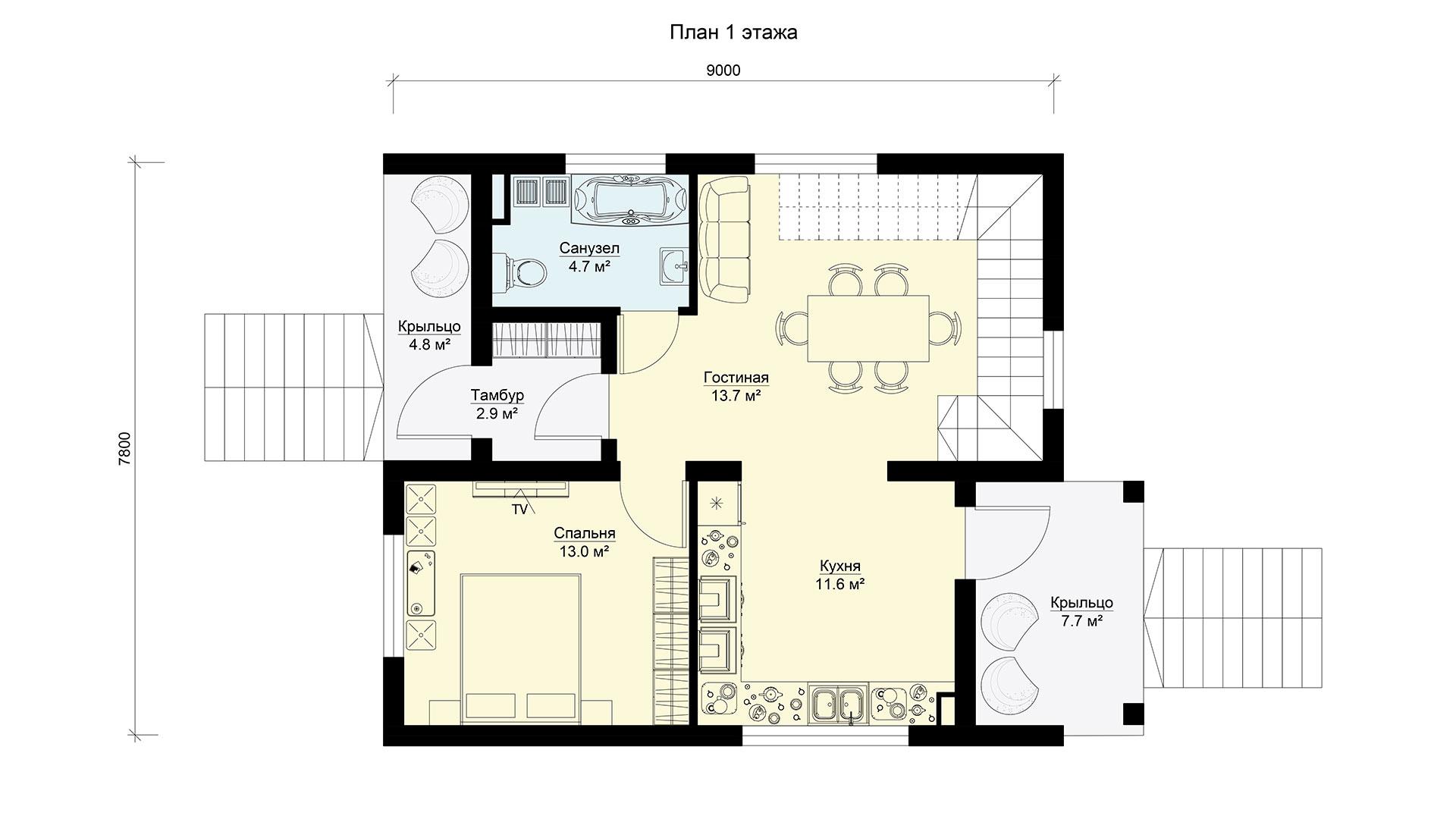 План первого этажа двухэтажного дома БП-171 в коттеджном поселке Берег Песочной в Истринском районе Московской области.