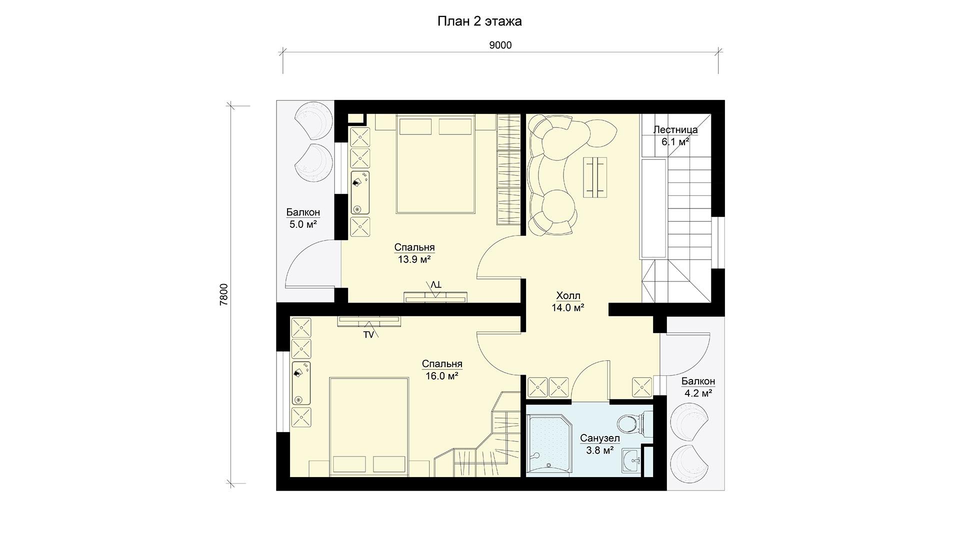 План второго этажа двухэтажного дома БП-171 в коттеджном поселке Берег Песочной в Истринском районе Московской области.