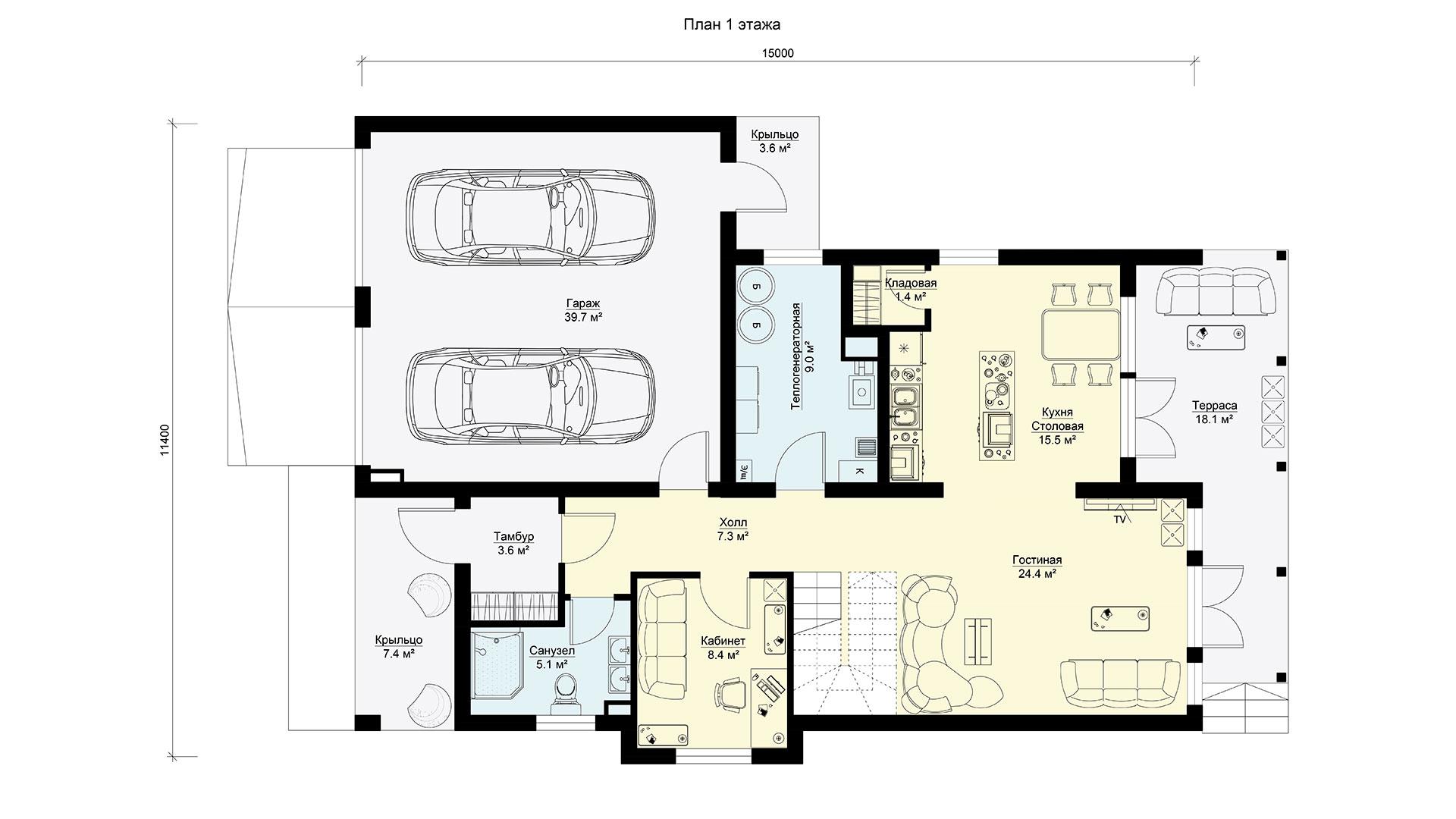 План первого этажа загородного дома БП-272.