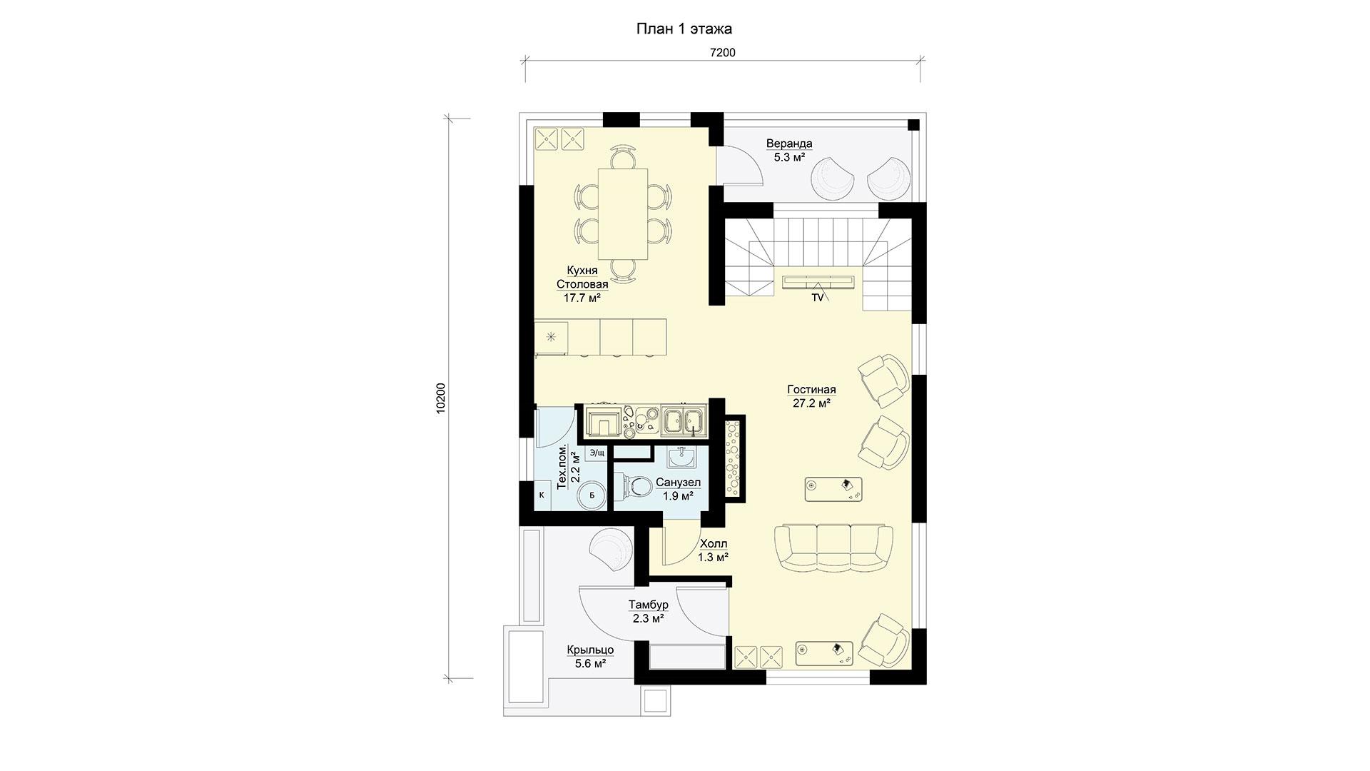 План первого этажа двухэтажного дома МС-112/1 в коттеджном поселке Берег Песочной в Истринском районе Московской области.