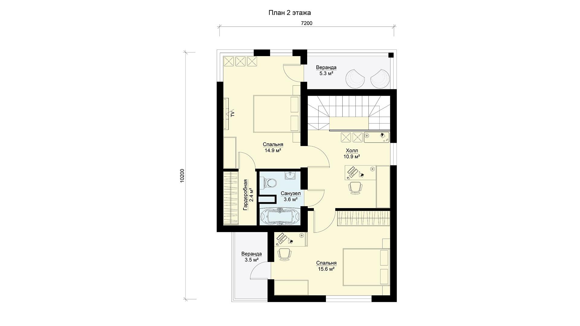 План второго этажа двухэтажного дома МС-112/1 в коттеджном поселке Берег Песочной в Истринском районе Московской области.
