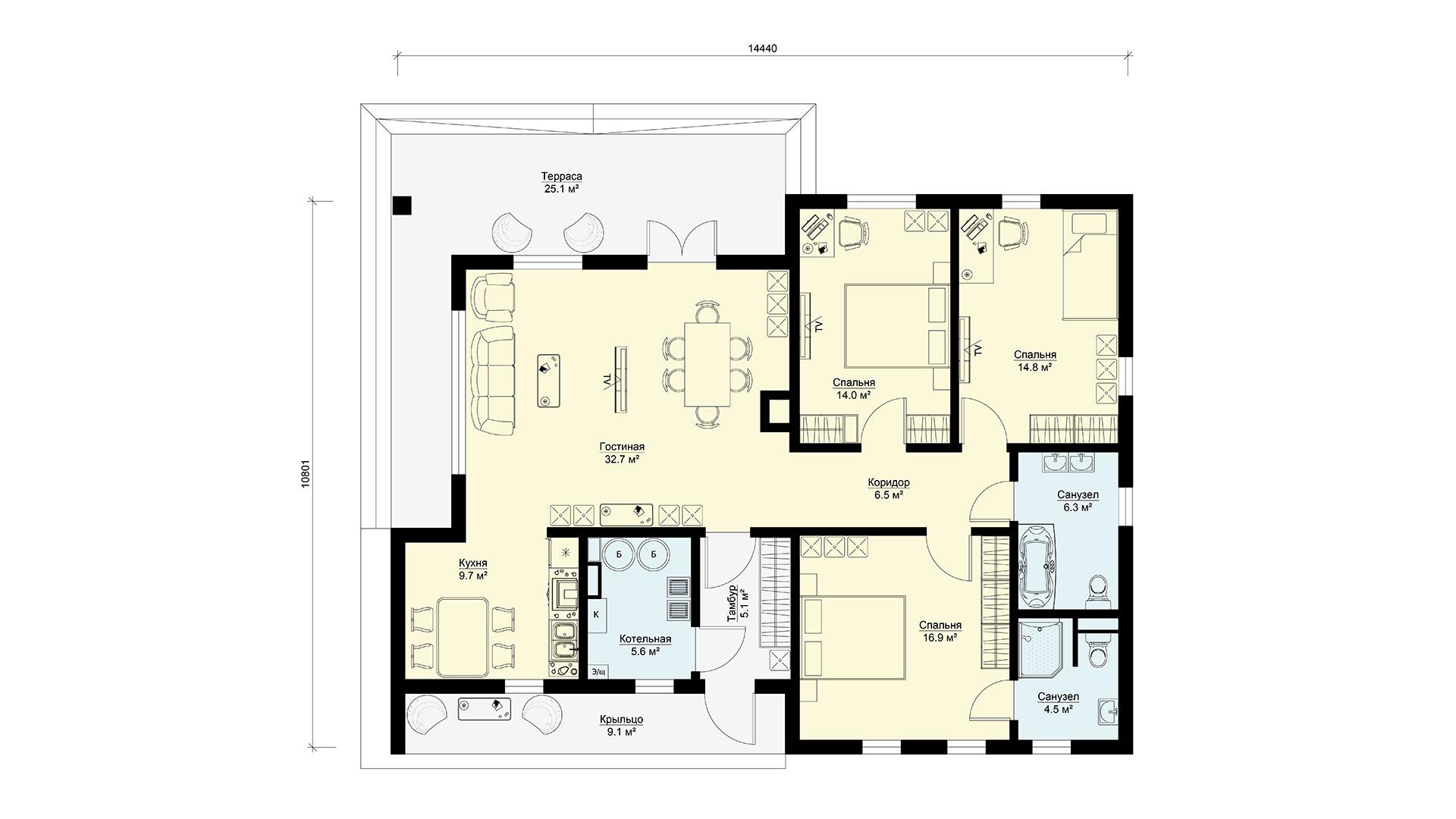 Планировка дачного дома МС-148 в коттеджном поселке Берег Песочной в Истринском районе Подмосковья.