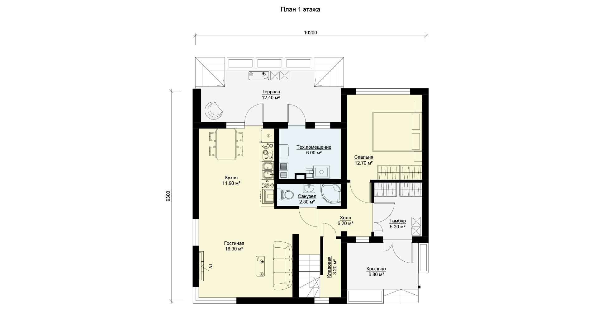 Планировка первого этажа коттеджа МС-186/1 в Истринском районе Подмосковья. Коттеджный поселок Берег Песочной.
