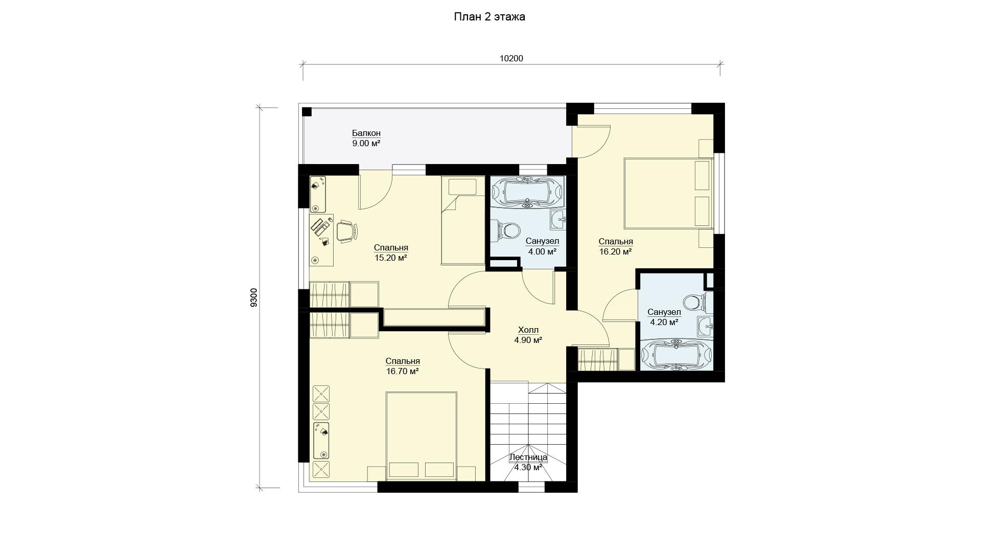 Планировка второго этажа коттеджа МС-186/1 в Истринском районе Подмосковья. Коттеджный поселок Берег Песочной.
