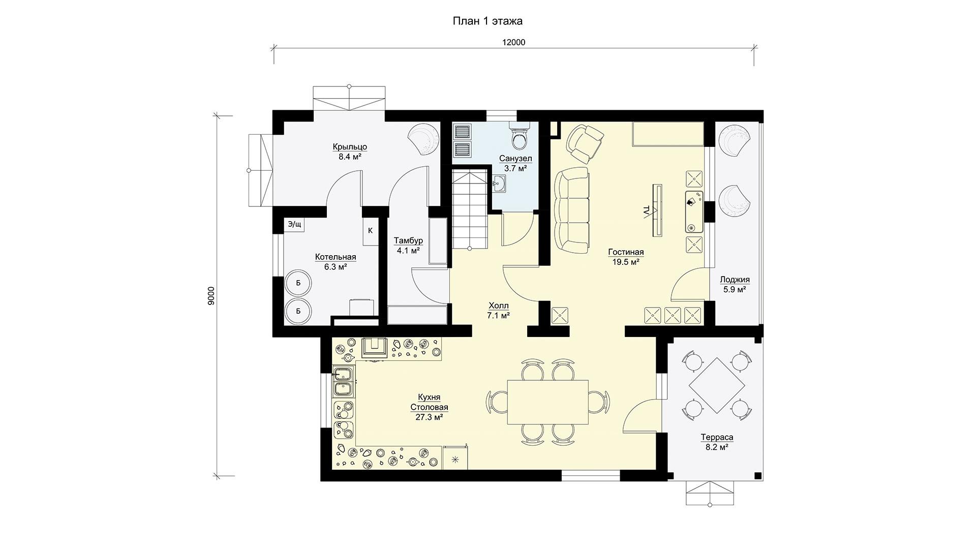 План первого этажа двухэтажного коттеджа МС-202/2 в коттеджном поселке Берег Песочной в Московской области в Истринском районе.