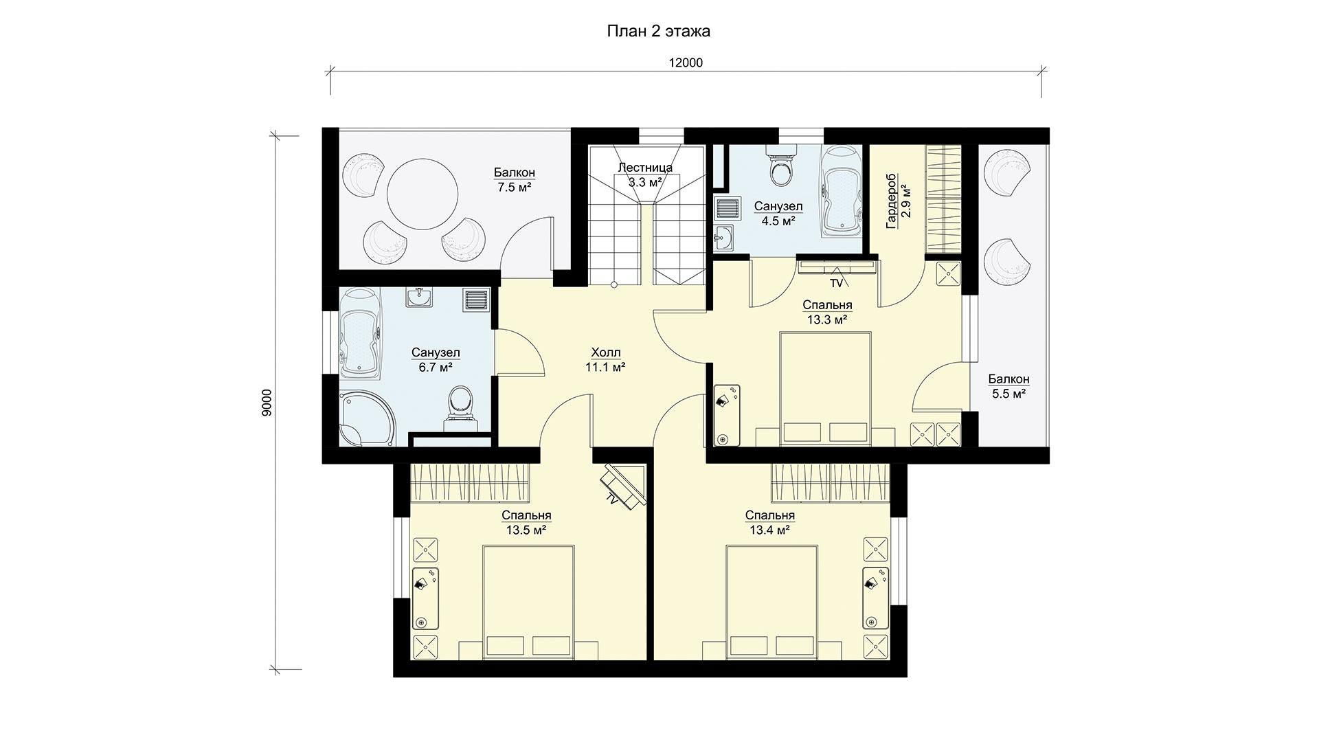 План второго этажа двухэтажного коттеджа МС-202/2 в коттеджном поселке Берег Песочной в Московской области в Истринском районе.