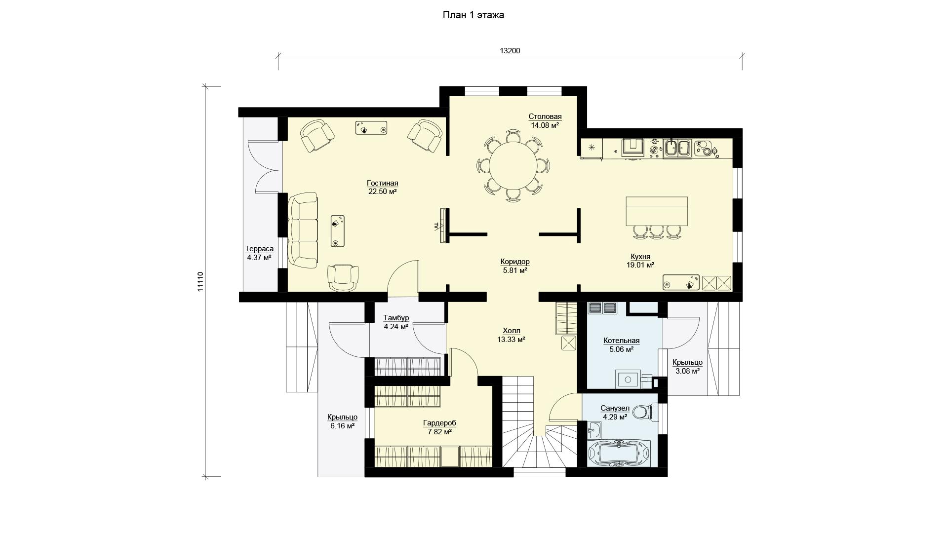 План первого этажа дома в Истринском районе Московской области в коттеджном поселке Берег Песочной.