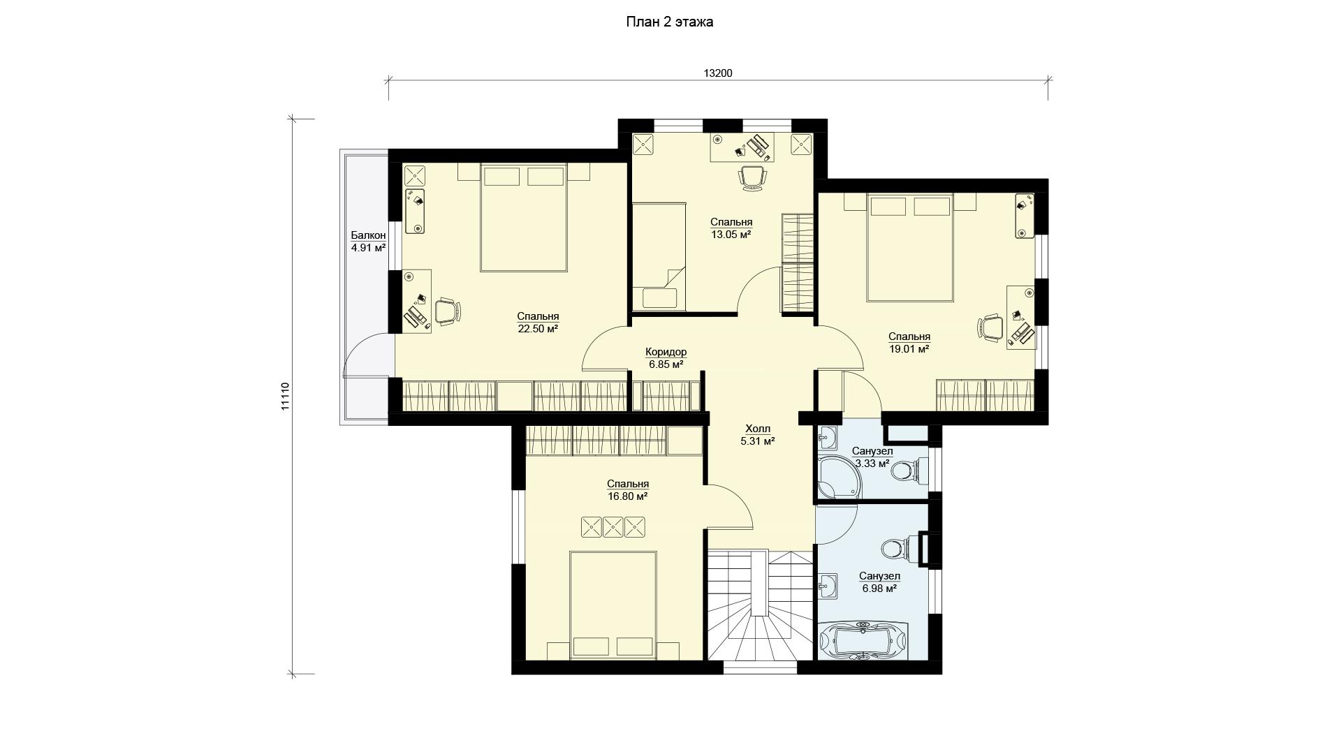 План второго этажа дома в Истринском районе Московской области в коттеджном поселке Берег Песочной.